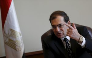 Tarek El Molla, Egypt's Minister of Petroleum and Mineral Resources speaks during an interview with Reuters at his office in Cairo