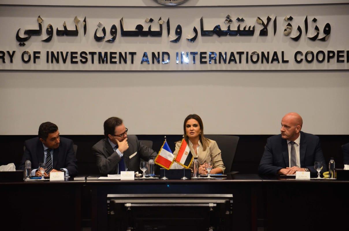 وزيرة الاستثمار خلال لقائها بممثلين عدة شركات فرنسية